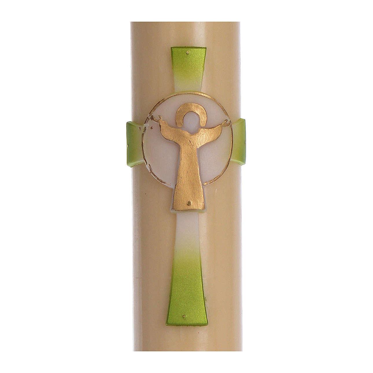 Cero pasquale cera d'api Croce Risorto verde 8x120 cm 3