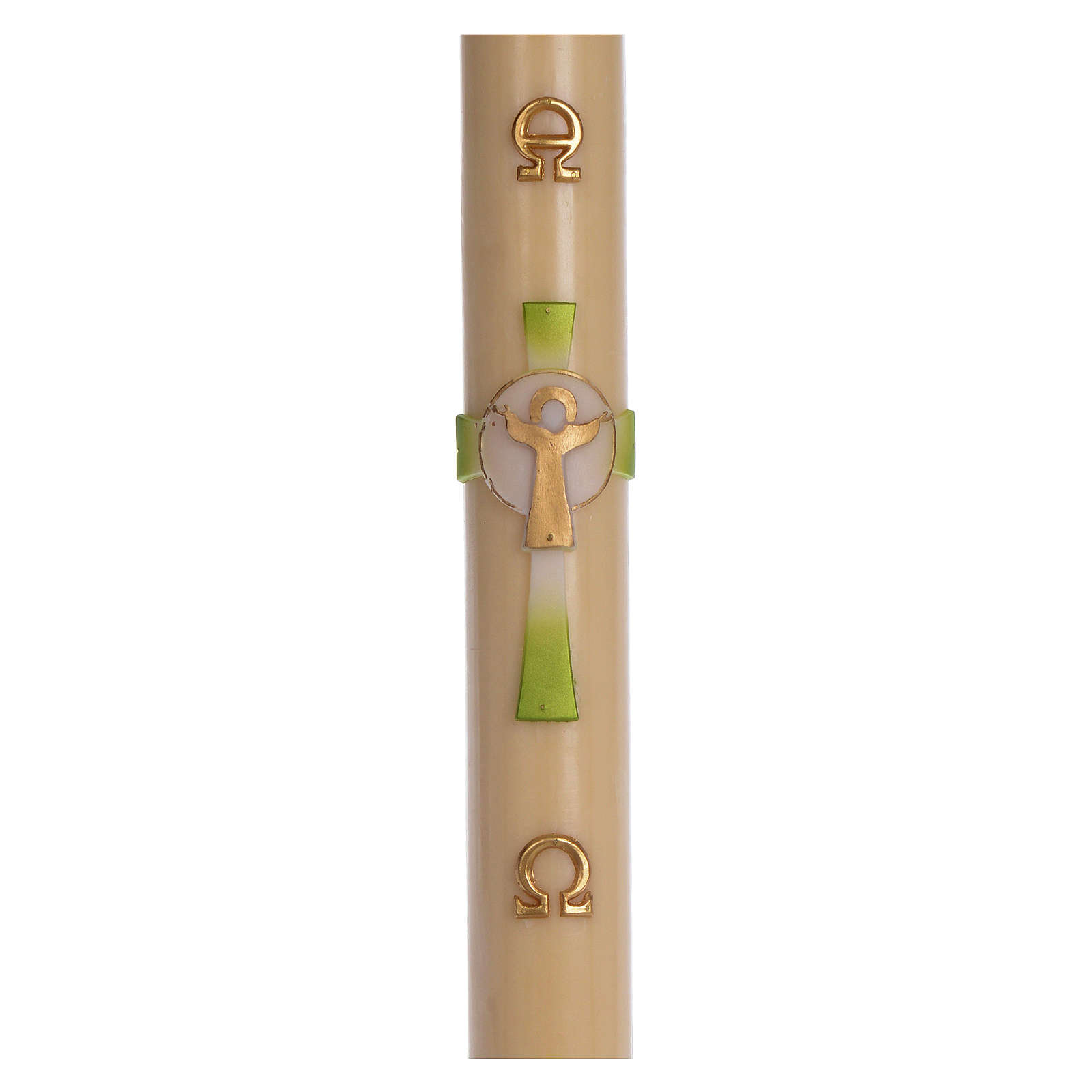 Paschal candle in beeswax with green Resurrected Christ 8x120cm 3