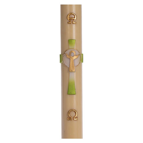Paschal candle in beeswax with green Resurrected Christ 8x120cm 1