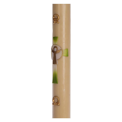 Paschal candle in beeswax with green Resurrected Christ 8x120cm 4