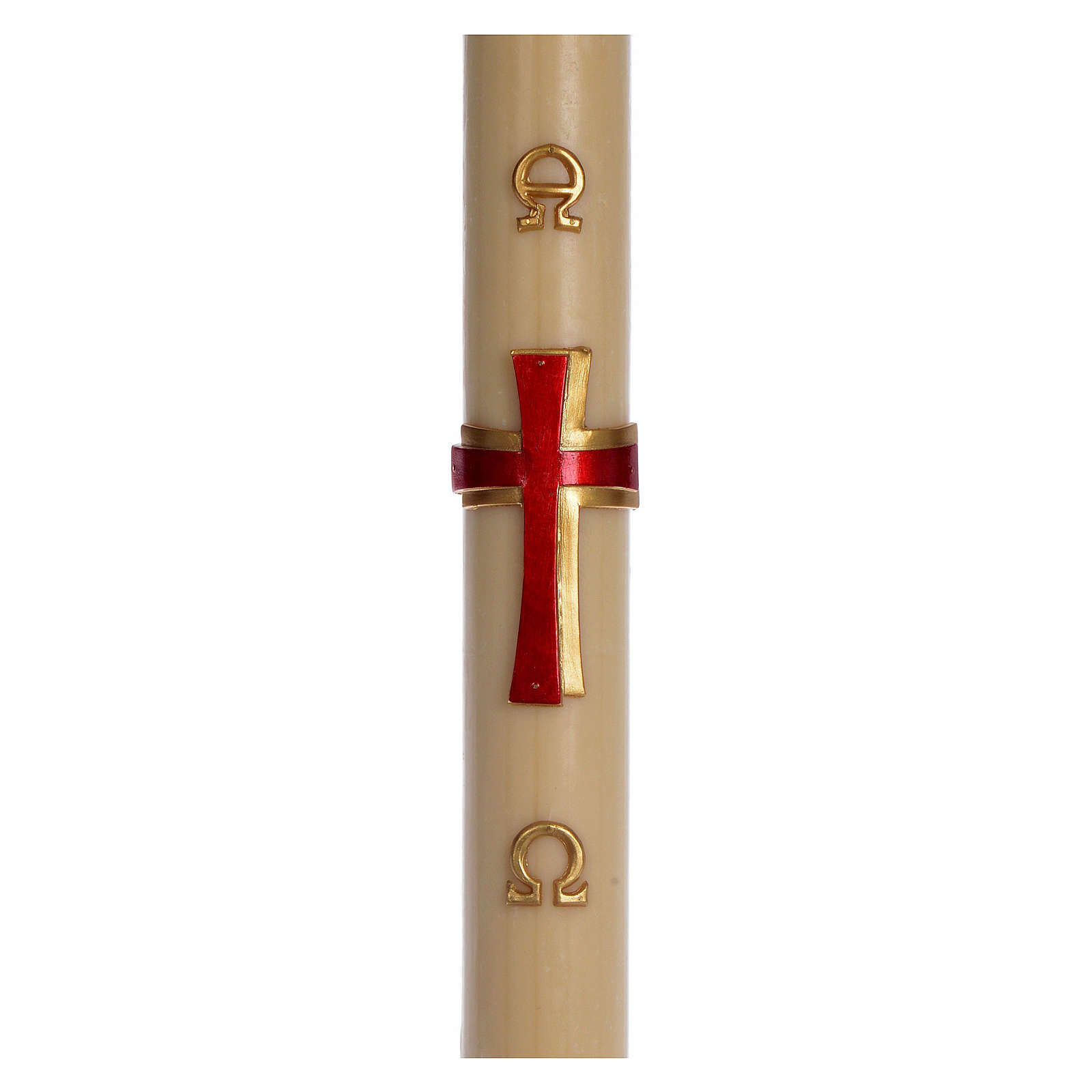 Paschal candle in beeswax with red cross in relief 8x120cm 3