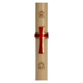 Paschal candle in beeswax with red cross in relief 8x120cm s1