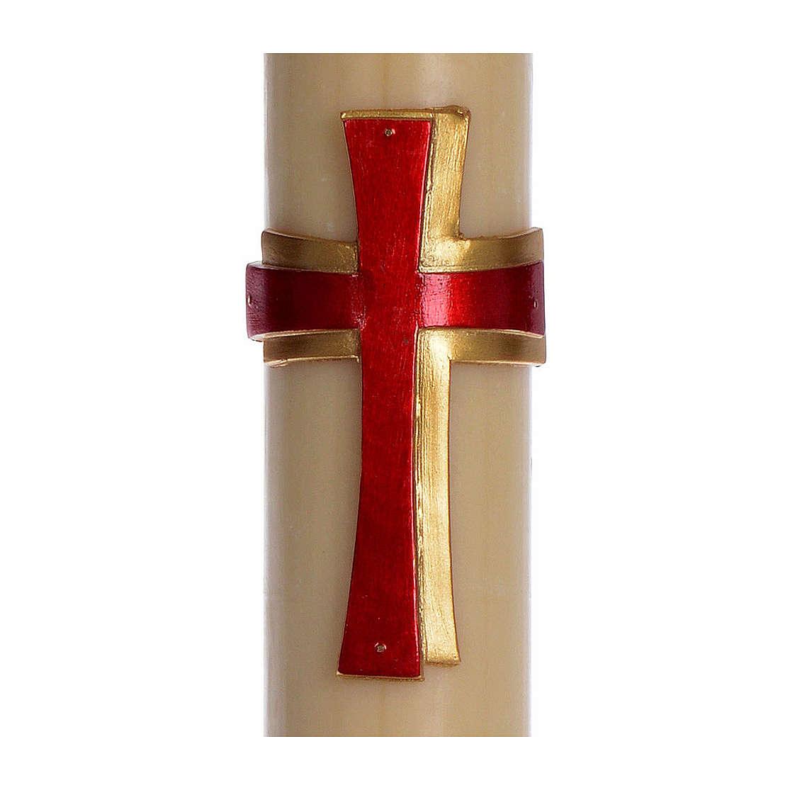 Cierge pascal cire d'abeille Croix relief rouge 8x120 cm 3