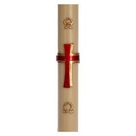 Bougies, cierges, chandelles: Cierge pascal cire d'abeille Croix relief rouge 8x120 cm