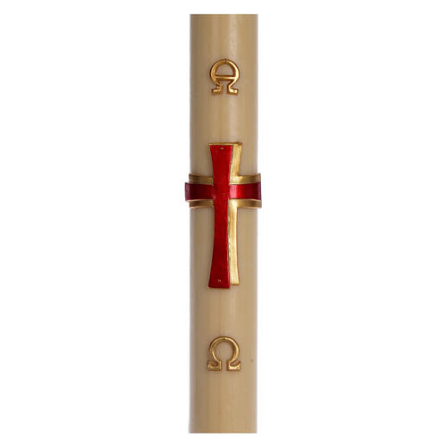 Paschal candle in beeswax with red cross in relief 8x120cm 1