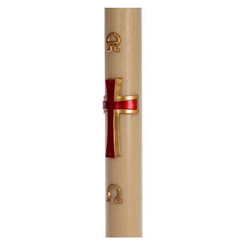Paschal candle in beeswax with red cross in relief 8x120cm 4