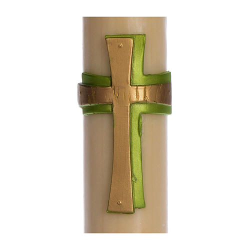 Osterkerze Kreuz Relief grün 8x120cm Bienewachs