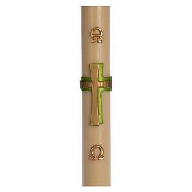 Bougies, cierges, chandelles: Cierge pascal cire d'abeille Croix relief vert 8x120 cm