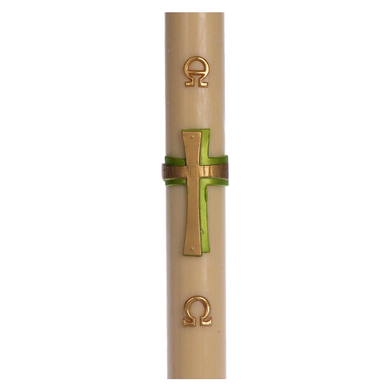 Paschał wosk pszczeli Krzyż relief zielony 8x120 cm 3