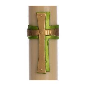 Paschał wosk pszczeli Krzyż relief zielony 8x120 cm s2