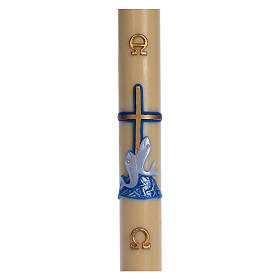 Paschal candle in beeswax with blue cross and fish 8x120cm s1