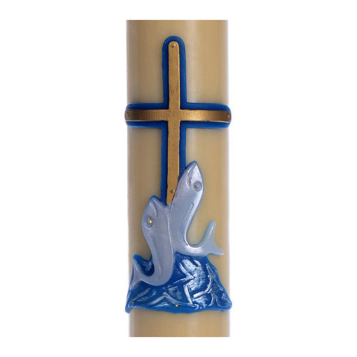 Paschal candle in beeswax with blue cross and fish 8x120cm 2