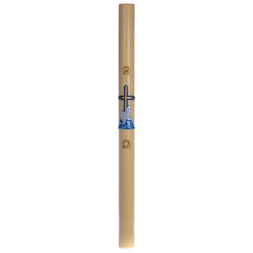 Paschal candle in beeswax with blue cross and fish 8x120cm 3