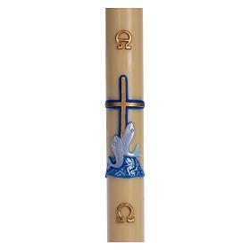Cierge pascal cire d'abeille croix poissons bleu 8x120 cm s1