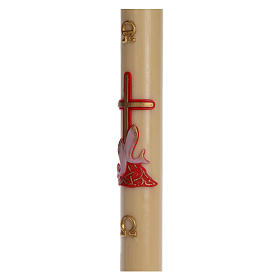 Paschal candle in beeswax with red cross and fish 8x120cm s4