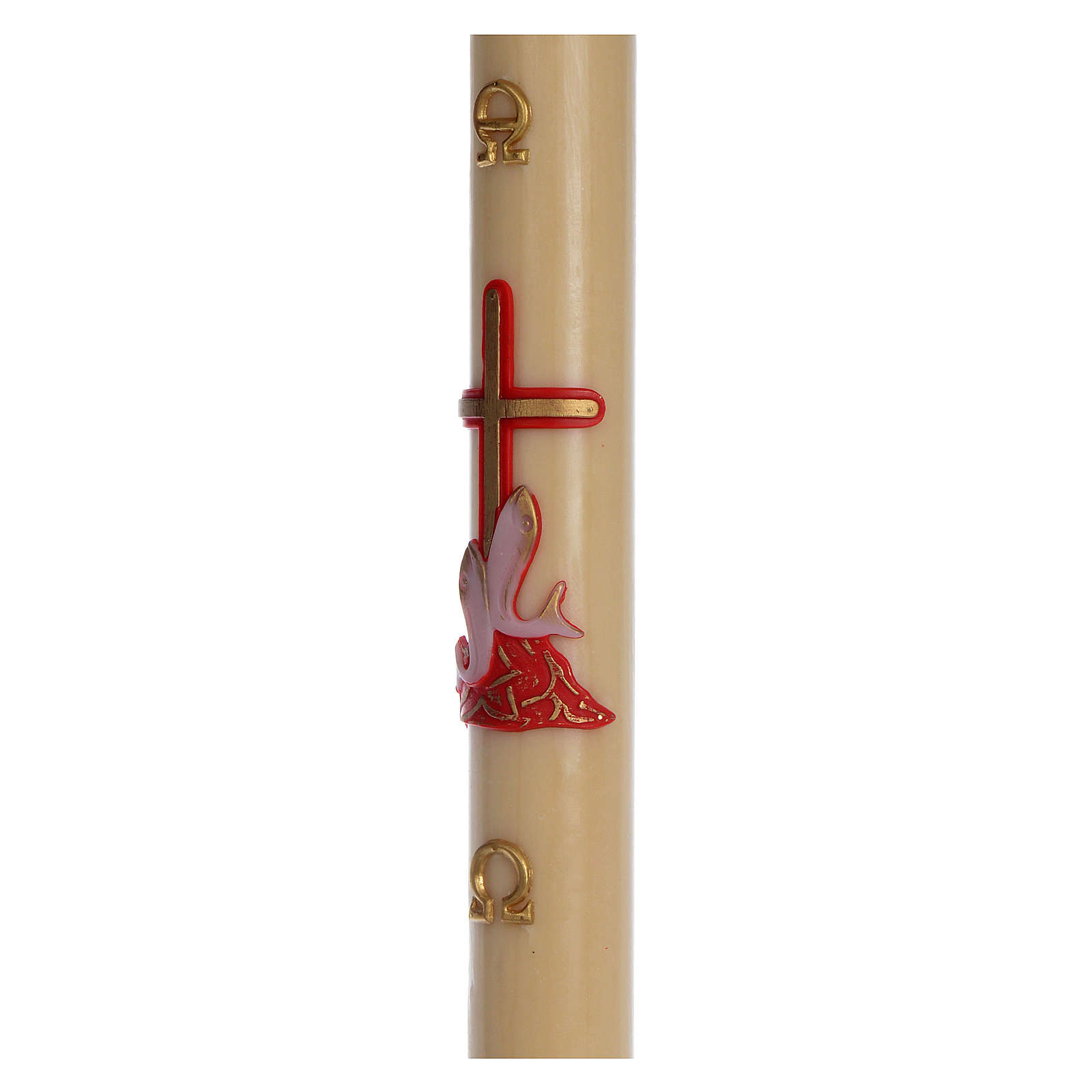 Cierge pascal cire d'abeille croix poissons rouge 8x120 cm 3