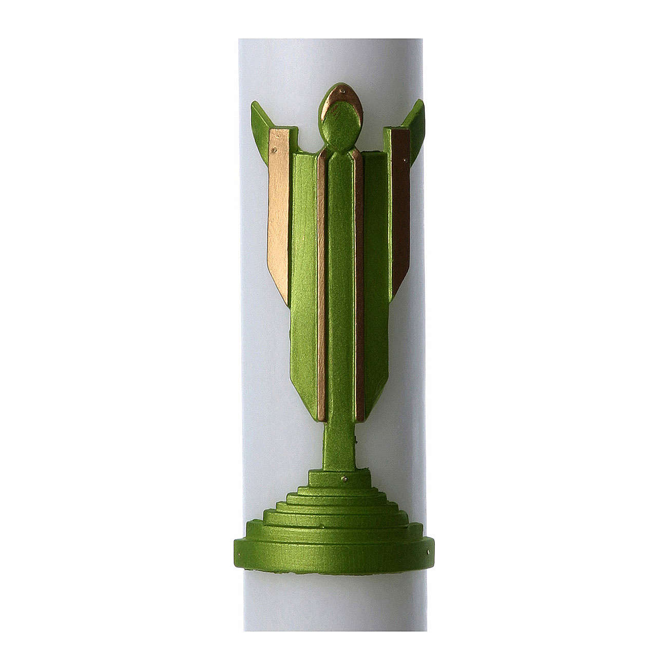 Easter candle in white wax with Risen Christ image green 8x120 cm 3