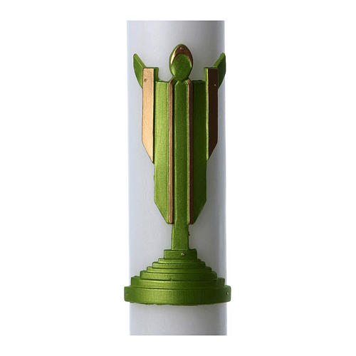 Easter candle in white wax with Risen Christ image green 8x120 cm 2