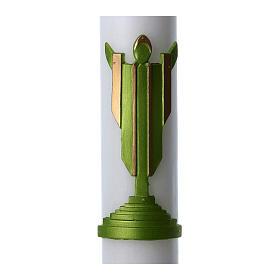 Cierge pascal cire blanche Christ Ressuscité vert 8x120 cm s2
