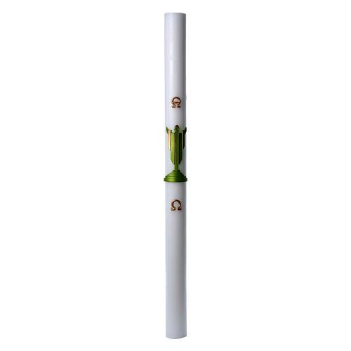 Cierge pascal cire blanche Christ Ressuscité vert 8x120 cm 3