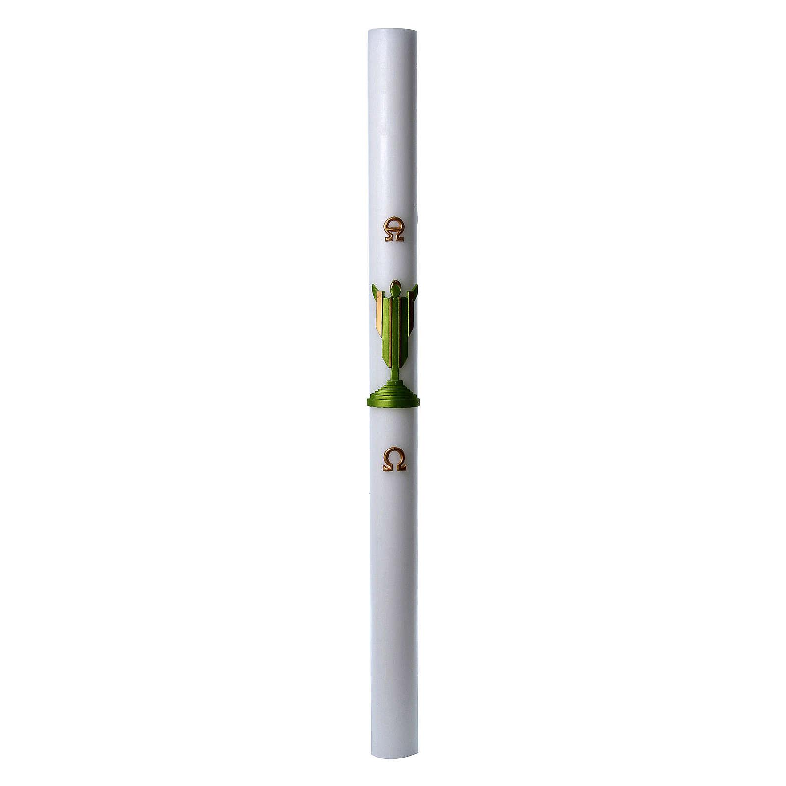 Cero pasquale cera bianca Cristo Risorto verde 8x120 cm 3