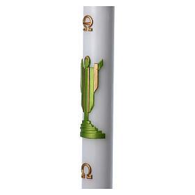 Cero pasquale cera bianca Cristo Risorto verde 8x120 cm s5
