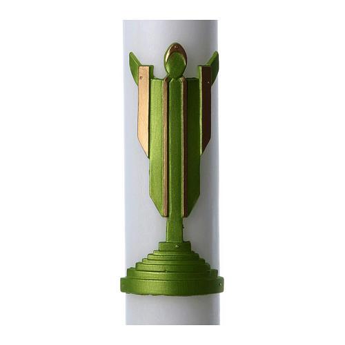 Cero pasquale cera bianca Cristo Risorto verde 8x120 cm 2