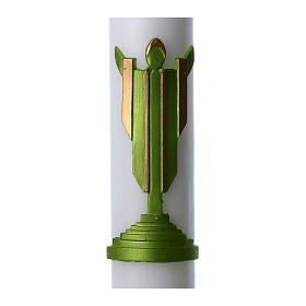Easter candle in white wax with Risen Christ image green 8x120 cm s2