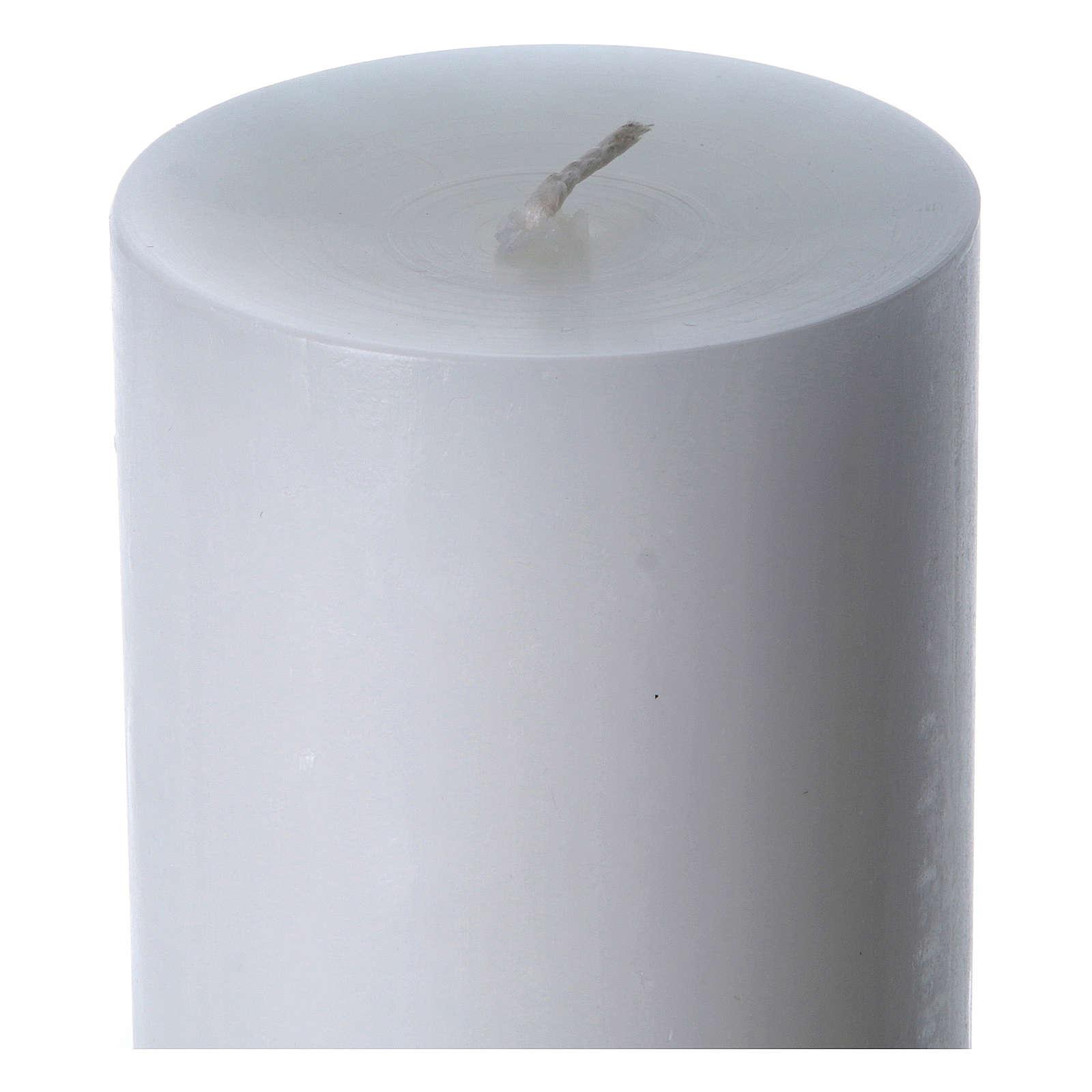 Cirio pascual cera blanca Cristo Resucitado rojo 8x120 cm 3
