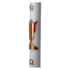 Cierge pascal cire blanche Christ Ressuscité rouge 8x120 cm s5