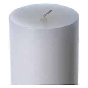 Cierge pascal cire blanche Christ Ressuscité rouge 8x120 cm s6