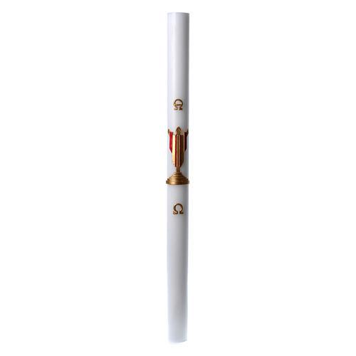 Cierge pascal cire blanche Christ Ressuscité rouge 8x120 cm 3