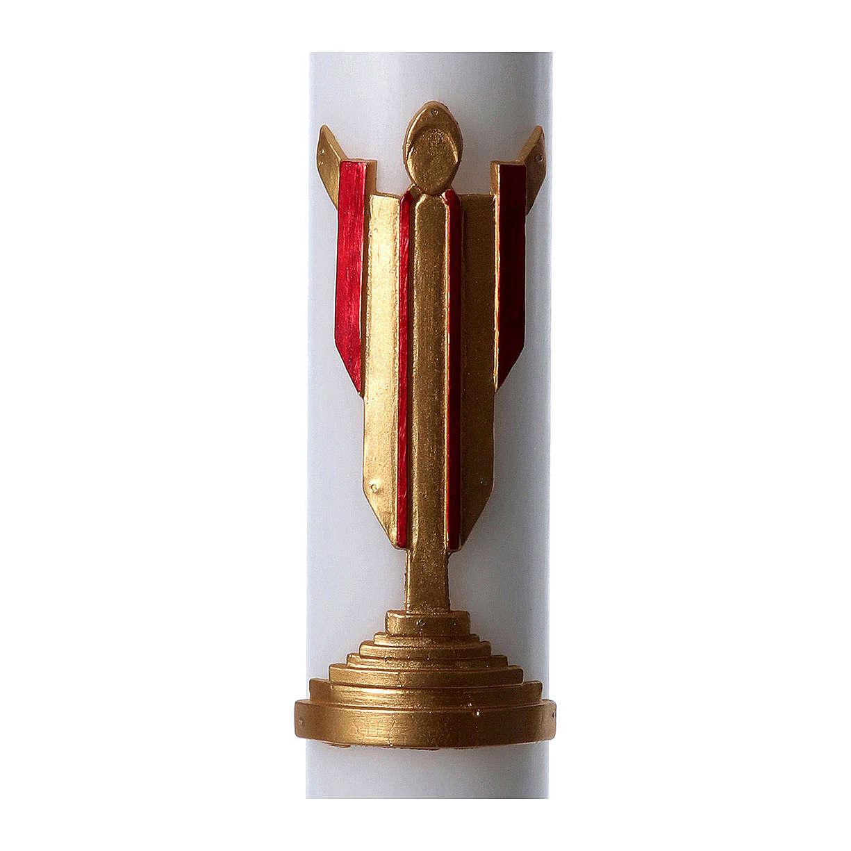 Cero pasquale cera bianca Cristo Risorto rosso 8x120 cm 3