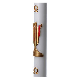 Easter candle in white wax with image of risen Jesus Christ coloured in red 8x120 cm s5