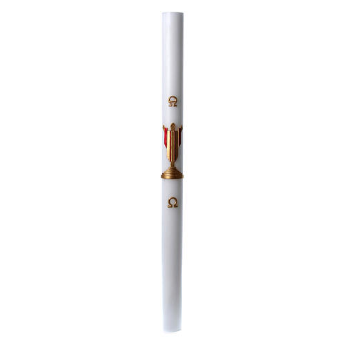 Easter candle in white wax with image of risen Jesus Christ coloured in red 8x120 cm 3