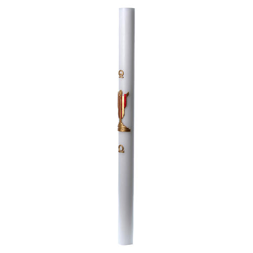 Easter candle in white wax with image of risen Jesus Christ coloured in red 8x120 cm 4
