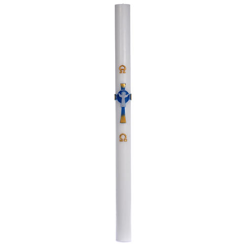 Paschal candle in beeswax with light blue Resurrected Christ 8x120cm 3