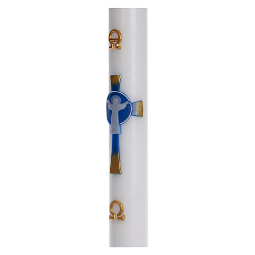 Paschal candle in beeswax with light blue Resurrected Christ 8x120cm 4