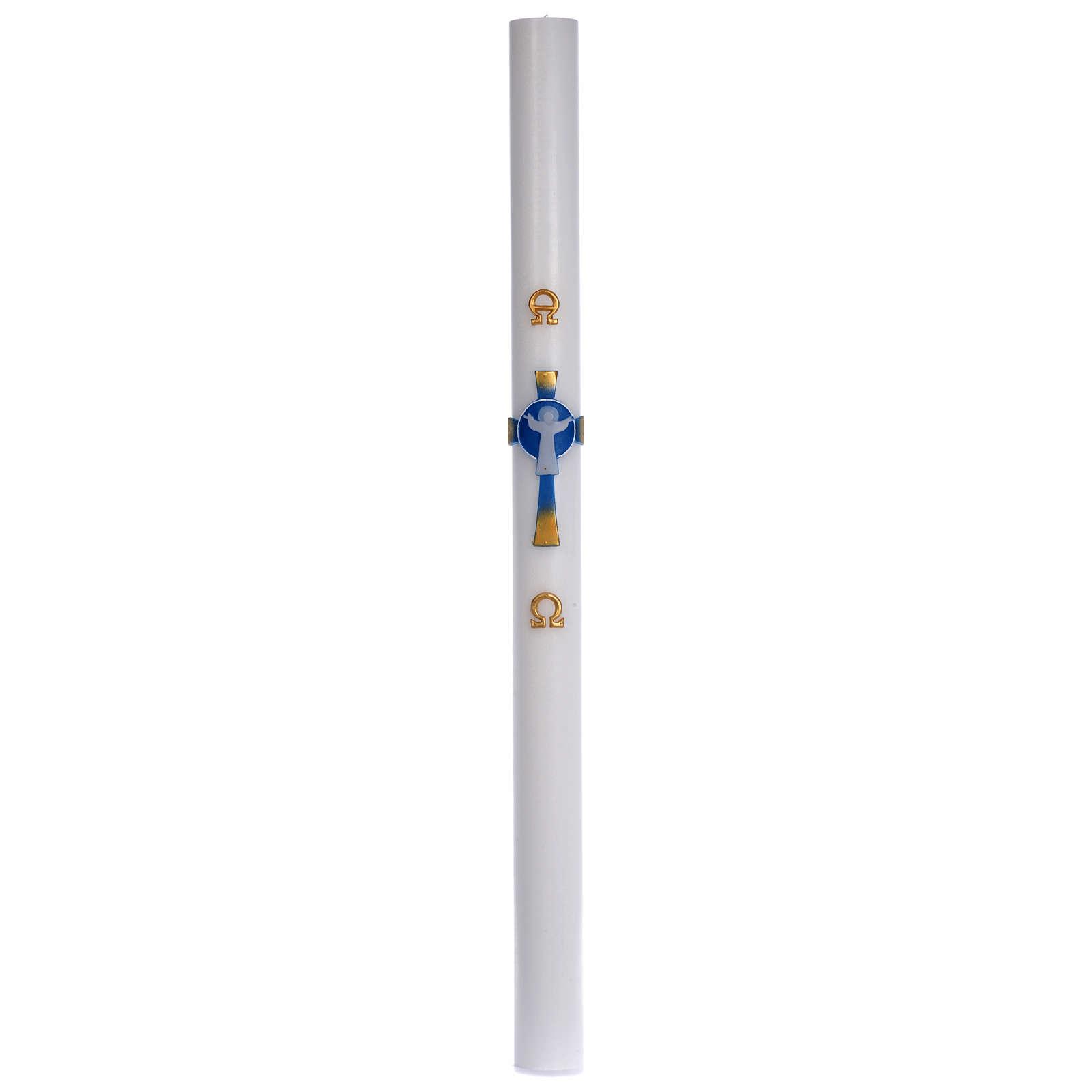 Cero pasquale cera bianca Croce Risorto azzurro 8x120 cm 3