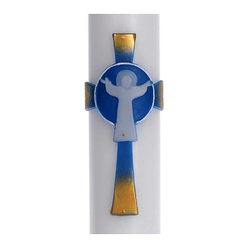 Círio pascal cera branca Cruz Ressuscitado azul 8x120 cm 2