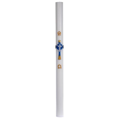 Círio pascal cera branca Cruz Ressuscitado azul 8x120 cm 3