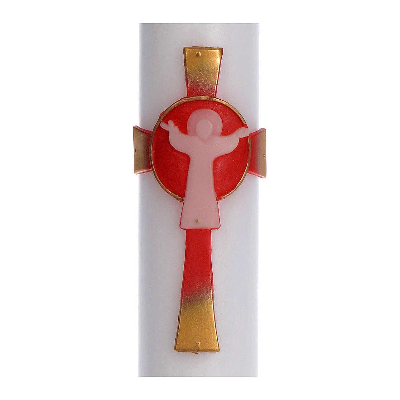 Osterkerze auferstandenen Christus rot 8x120cm 3