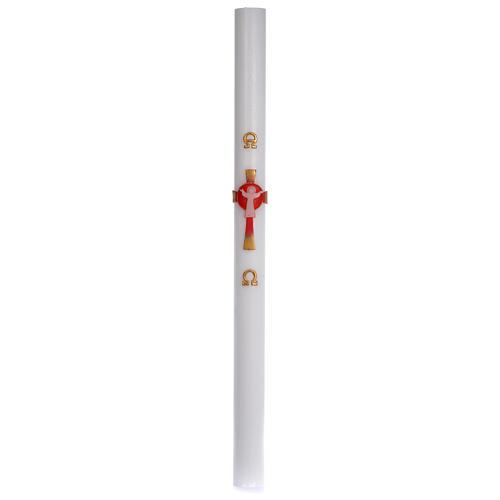 Cirio Pascual cera blanca Jesucristo Resucitado rojo 8x120 cm 3