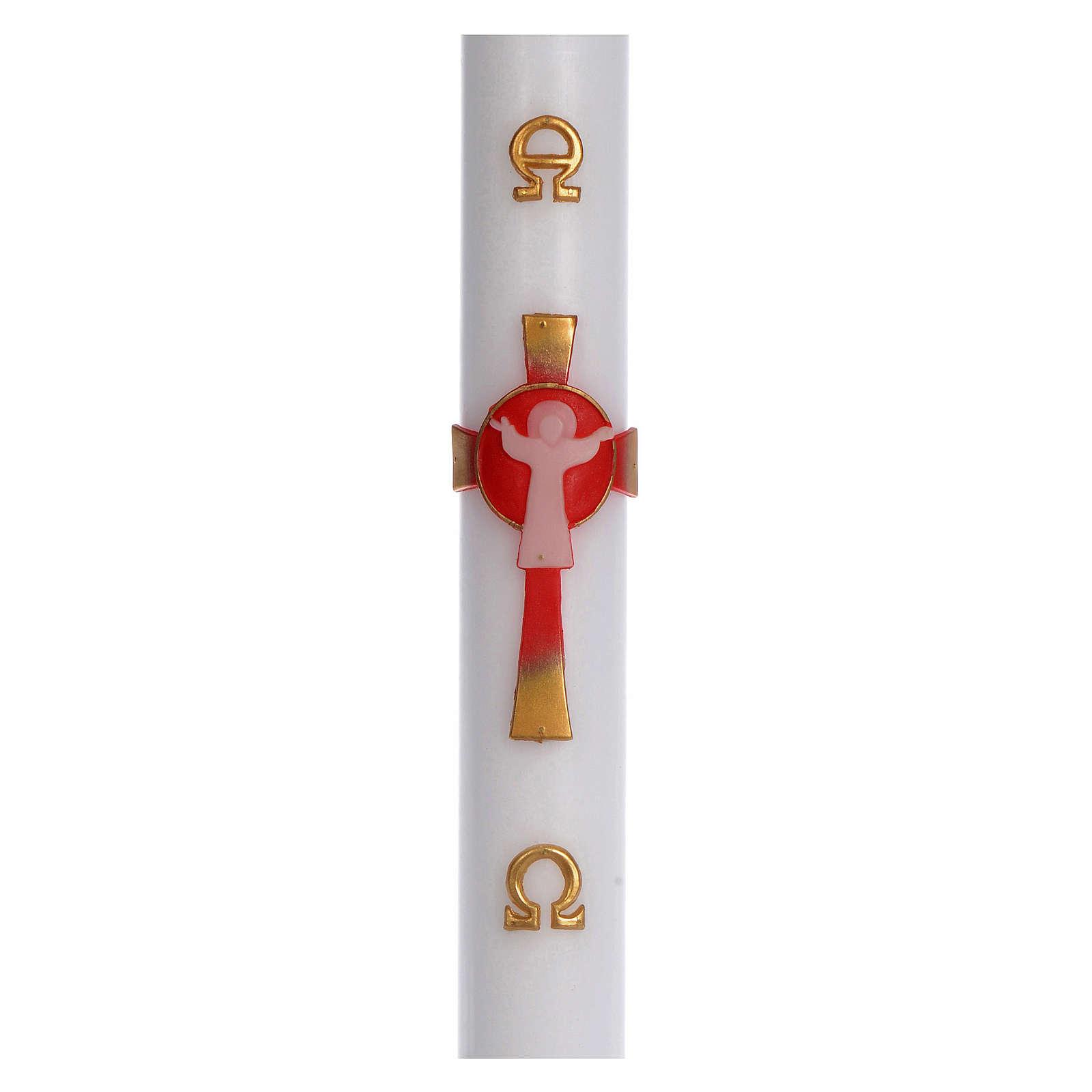 Cierge pascal cire blanche Croix Ressuscité rouge 8x120 cm 3