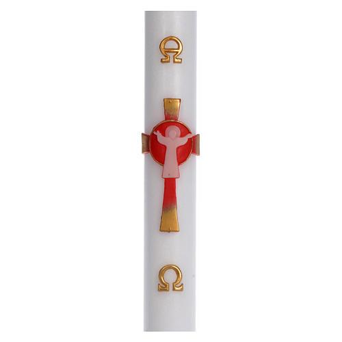 Cierge pascal cire blanche Croix Ressuscité rouge 8x120 cm 1