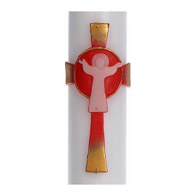 Cero pasquale cera bianca Croce Risorto rosso 8x120 cm s2