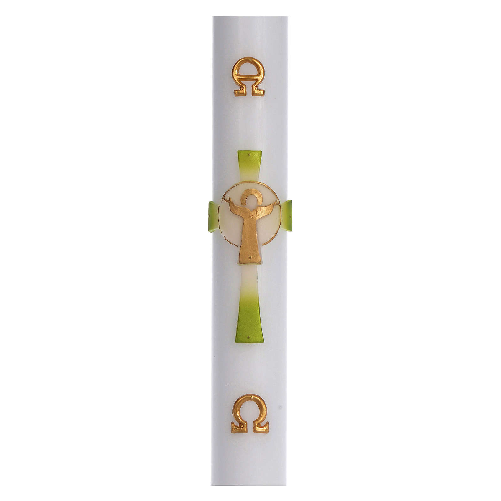 Paschal candle in white wax with green Cross Resurrected Christ 8x120cm 3