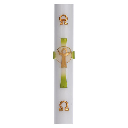 Paschal candle in white wax with green Cross Resurrected Christ 8x120cm 1