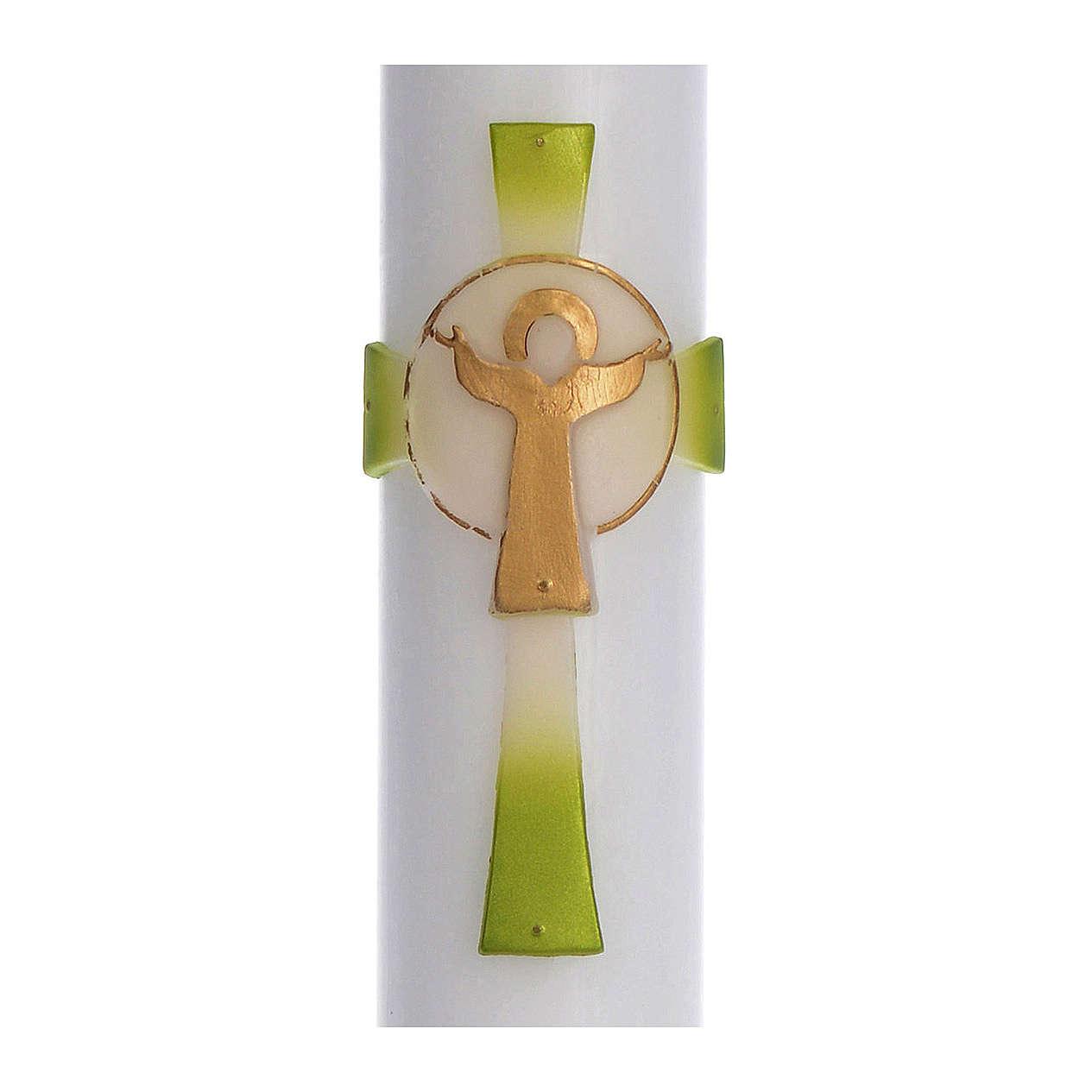 Cierge pascal cire blanche Croix Ressuscité vert 8x120 cm 3