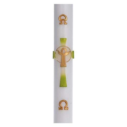 Cierge pascal cire blanche Croix Ressuscité vert 8x120 cm 1